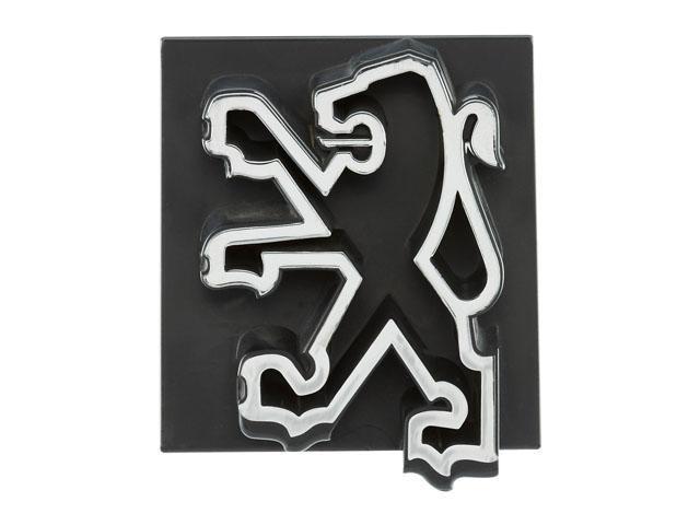Los leones Peugeot – 1975, el león delineado, plateado sobre fondo negro